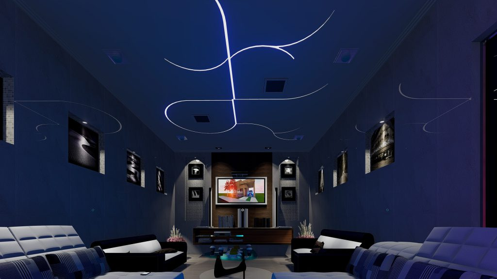 interior TV room with LED lighting